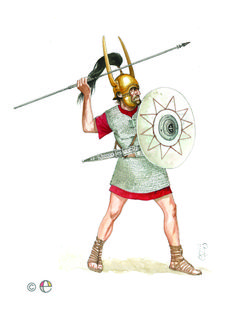 An Iberian warrior with a mail shirt, a horned helmet, and a shield for protection. His weapons are the Soliferrum, a long all iron javelin, and a short sword, which would later evolve into the gladius.
