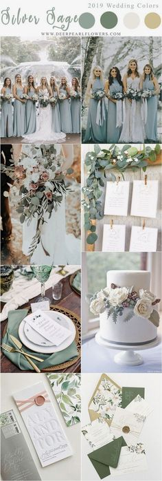 silver sage green wedding color ideas for 2019 wedding ideen Top 10 Wedding Color Scheme Ideas for 2019 Trends Wedding Centerpieces, Wedding Table, Wedding Bouquets, Wedding Ceremony, Wedding Flowers, Wedding Decorations, Wedding Rustic, Wedding Cakes, Centerpiece Ideas