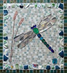 Mosaic Dragonfly Wall Art- vintage crockery, recycled copper, copper-foiled stained glass, glass and ceramic mosaic tile by TomatoJack Arts