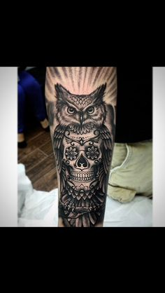 #owl #skull #tattoo