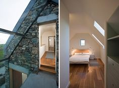 Two Stone Cottages Connected by a Glass Staircase | Modern House Designs