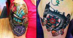 These awesome sewing machine tattoos look really solid and bright. This is something that the traditional style of tattooing is known for. New Tattoos, I Tattoo, Tatoos, Sewing Machine Tattoo, Knitting Tattoo, Sewing Tattoos, Neo Traditional Tattoo, Tattoo Designs, Tattoo Ideas