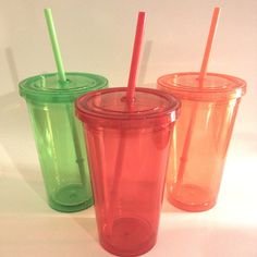 Monogramed Tumbler with Straw on Etsy, $5.00