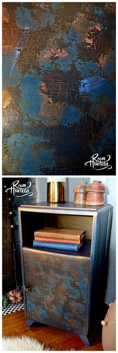 Room Thirteen made use of Artisan Enhancements blue and copper foils along with Crackle Tex in this fantastic, one of a kind paint finish! What an artistic and inventive approach to metallic foil and crackle application!