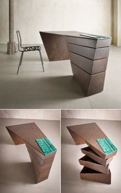 This twisted Desk design appears almost sculptural. Unique office furniture.
