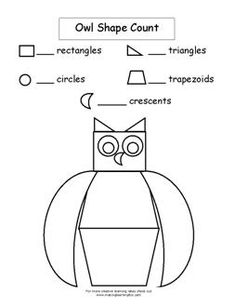 Owl Shape Count Worksheet  from Making Learning Fun.