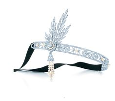A First Look at Tiffany's Great Gatsby Gems and More Jazz Age-Inspired Jewels: A headpiece of diamonds and freshwater cultured pearls in platinum with detachable brooch, $200,000. From the Great Gatsby collection.