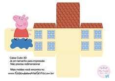 Caixa Cubo 3D Peppa Pig Molde Peppa Pig, Peppa Pig Teddy, Cumple Peppa Pig, Peppa E George, George Pig, Kids Party Themes, Birthday Party Themes, Pig Crafts, Crafts For Kids