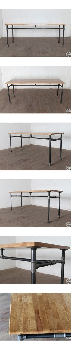 Perfect design with center support for weight of laminate countertop on studio work table. Add locking casters and more pipes to create side shelving. (Need To Try Design Studios) Pipe Furniture, Industrial Furniture, Industrial Pipe, Industrial Style, Furniture Vintage, Furniture Design, Kitchen Industrial, Funky Furniture, Chair Design