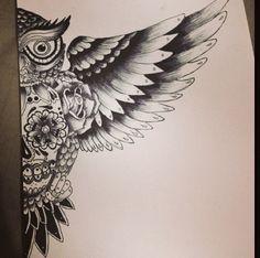 Owl & sugar skull drawing I did #drawing #owl #sugarskull #skull