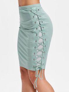 High Waist Lacing Side Skinny Skirt - Light Sea Green L Fall Summer Pencil Skirt Casual, Pencil Skirt Outfits, High Waisted Pencil Skirt, Pencil Skirts, Pencil Dresses, Jeans Denim, Denim Skirt, Fitted Skirt, Body Con Skirt