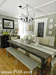 Creative Casa: 70 Lasting Farmhouse Dining Room Table and Decorating Ideas // Country dining room decor // country home design Farmhouse Dining Room Table, Farmhouse Furniture, Rustic Table, Furniture Decor, Dining Set, Country Furniture, Dining Tables, Furniture Design, Grey Dining Rooms