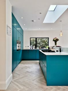 The Colour Blocking Project - A complete house refurb in West Leeds - making spaces Big Kitchen, Open Plan Kitchen, Kitchen Tiles, Kitchen Design, Green Kitchen, Kitchen Colour Schemes, Kitchen Colors, Color Schemes, Loft Staircase