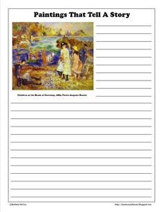 Paintings that Tell a Story - Renoir. Free printable notebook page