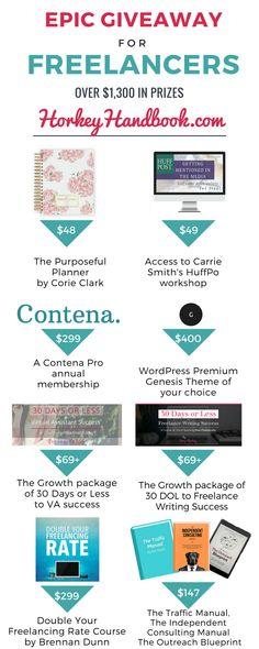 Epic Freelancer Giveaway! I entered and you should too! #freelance #writelikeme #amwriting