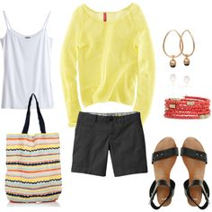 Coral and Yellow, created by bluehydrangea on Polyvore