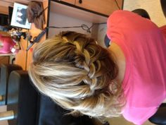 ❤Highlighted hair French braid side curl updo