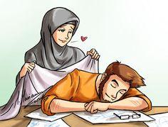 kumpulan kartun romantis parf 3 - my ely Cute Muslim Couples, Muslim Girls, Cute Couples, Islam Marriage, Islamic Cartoon, Muslim Family, Anime Muslim, Love In Islam, Couple Cartoon