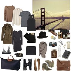Packing for San Francisco by coffeestainedcashmere on Polyvore featuring Clu, T By Alexander Wang, Petit Bateau, Mulberry, Cheap Monday, Joseph, Calvin Klein, New Balance, Repetto and Longchamp