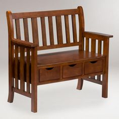WorldMarket.com: Oak Finish Fairview 3-Drawer Bench