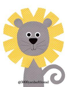 1400 León vivero arte imprimir / / vivero de Làmina bebé vivero vivero impresión niños arte de la decoración amarillo gris cuarto regalos de menos de 20
