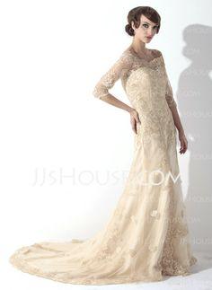 Wedding Dresses - $196.89 - Sheath/Column Off-the-Shoulder Court Train Satin  Tulle Wedding Dresses With Lace  Beadwork (002011393) http://jjshouse.com/Sheath-Column-Off-the-shoulder-Court-Train-Satin--Tulle-Wedding-Dresses-With-Lace--Beadwork-002011393-g11393
