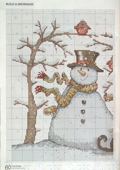Frozen Felix Snowman Cross Stitch Pattern