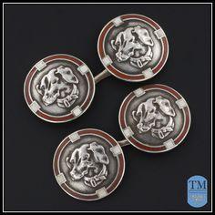 Art Deco Silver & Red Enamel Dachshund Dog Cufflinks