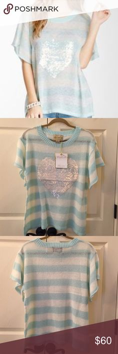 Wildfox Bridgette's Heart Lake House Tee Super cute white label short sleeve sweater with sequined heart. Wildfox Sweaters Crew & Scoop Necks