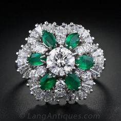 1.05 Carat Center Diamond and Emerald Vintage Cocktail Ring