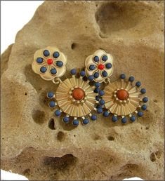 earrings blue/orange/ gold Luxury Boucles d'oreilles Orange, Earrings, Gold, Etsy, Ears, Unique Jewelry, Boucle D'oreille, Locs, Hands