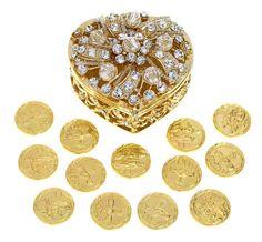 Boda unidad monedas - Arras de Boda - corazón en forma de pecho caja con cristales de Strass decorativo (oro)