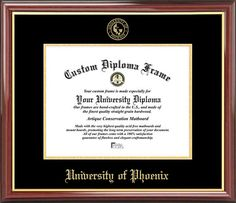 University of Phoenix Diploma Frame - Embossed Seal - Mahogany Gold Trim