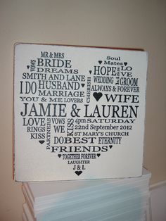 aprrox 8 x 8 inches this lovely wall is personalised to your requirements with names initials lats names date church time. complete with sawtooth hanger for hanging should you wish.wooden plaque many thanks Wedding Wishes, Wedding Signs, Wedding Stationary, Wedding Invitations, Wedding Favors, Wedding Ideas, Love Vows, Wedding Typography, Personalized Plaques