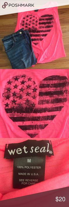 Pink American Flag Tie-Front Tank Top Size Medium Pink American flag tank top from Wet Seal! Size medium.  Black studs on the front.  Only worn once, still in excellent condition! Perfect top to pick up for the 4th of July! Wet Seal Tops Tank Tops