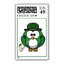Animated St. Patrick's Day Owl Postage Stamp