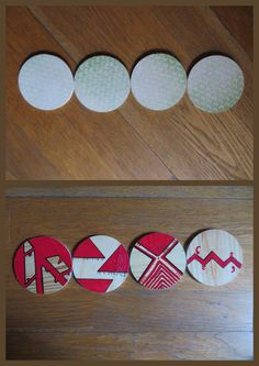 Recycled coasters butterflies on one side; abstract design on the other side