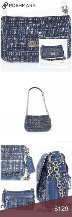 Coach Blue Tweed Chelsea Boucle Flap Bag Authentic Coach Purse No. F1171-17837       Multi color black and navy blue Dark grey chain strap Flap closure Navy blue satin on the inside Dark grey hardware Multi-function ( Handbag/ Crossbody/ Swing Bag/ Evening Bag, clutch bag ) (L) 9.5 x (H) 6.5 x (W) 2.5 inches Coach Bags Shoulder Bags