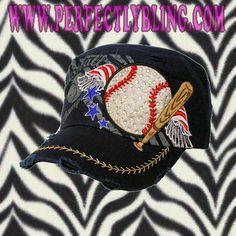 Rhinestone Cap Wings | Bat | Baseball - NAVY