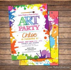 Art Paint Party Invitations: Printable Birthday Invitation, colorful kids invite w/ rainbow colors, party printables, decorations available by thepartystork on Etsy https://www.etsy.com/au/listing/185155859/art-paint-party-invitations-printable