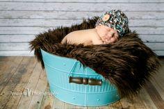 Newborn boy hat Button beanie hat for newborn baby boy photography photo prop blue brown white - READY TO SHIP