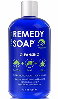Remedy Antifungal Soap Helps Wash Away Body Odor Athletes Foot Nail Fungus Ringworm Jock Itch Yeast Infections and Skin Irritations Refreshing 100 Natural Foot and Body Wash with Tea Tree Oil Mint  Aloe Therapeutic Cleanser 12 oz >>> Click image to review more details.