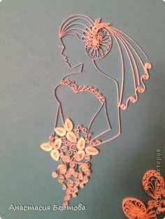 Картина панно рисунок Квиллинг Невеста Бумажные полосы фото 4