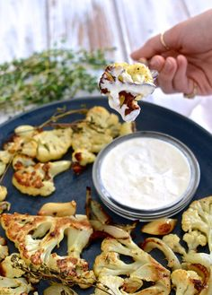 Thyme-Roasted Cauliflower with Horseradish Sauce.