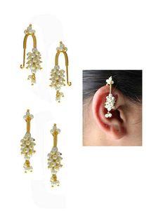 India Jewelry, Ear Jewelry, Bridal Jewelry, Jewelry Art, Gold Jewelry, Fashion Jewelry, Jewelery, Gold Bar Earrings, Gold Earrings Designs