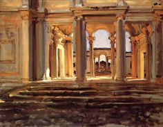 The Athenaeum - Villa Papa Giulio (John Singer Sargent - ) Watercolor Landscape, Landscape Art, Landscape Paintings, John Singer Sargent Watercolors, Sargent Art, Environment Painting, Historical Art, Traditional Paintings, Plein Air