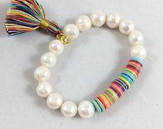 African Vinyl Disks Bracelet/Tassel Stretch Bracelet/Colorful Tassel Bracelet/Freshwater pearl Bracelet/African Vinyl Disc Beads/Yoga/Beach For Boho Jewelry, Bridal Jewelry, Jewelery, Jewelry Accessories, Handmade Jewelry, Jewelry Design, Fashion Jewelry, Jewelry Necklaces, Tassel Bracelet