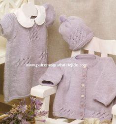 Conjunto dos agujas para bebe de vestido, gorro y chaqueta paso a paso