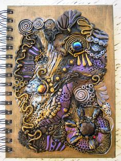 Reserved. Ancient Treasures Journal, Spiral Notebook - Polymer Clay Design. $55.00, via Etsy.