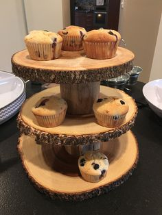 Deer / hunting them rustic boy baby shower.  Blueberry muffins specifically requested and this is the perfect display, I think.  First run muffins.  Using bigger granulated sugar on top on shower day